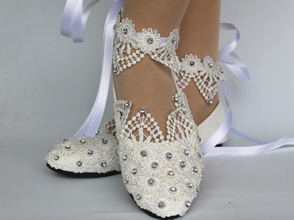 New Fashion White Light Ivory Lace Crystal Flat Ballet Wedding