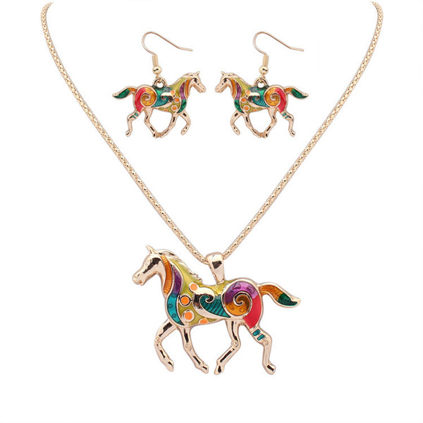 top popular Fashion Rainbow Horse Pendant Necklaces Dangle Earrings Sets Gold&Silver Enamel animal Charms Popcorn Chain For women Girls Jewelry Gift 2021