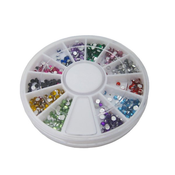 Wholesale- New arrive Nail Art Rhinestones decoration 3D Wheel 12 Mix Color Glitter Gems Design stone Round Bling Crystal sticker tools