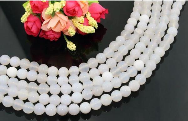 Heißer Verkauf Neues Design weiß Achat Perlen 8mm Naturstein lose Perlen Perlen DIY Schmuck Zubehör passen Halskette Armband Material schöne Perle