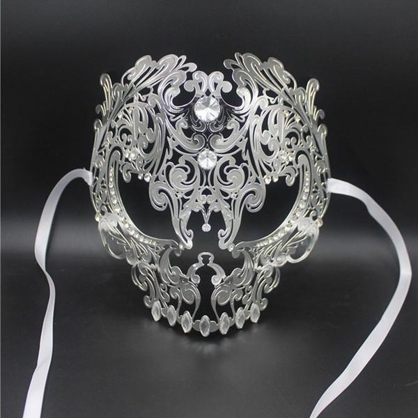 Wholesale- Black Full Face Skull Men Women Metal Laser Cut Silver Masquerade Party Masks Gold Red Ball Rhinestone Prom Venetian Mask