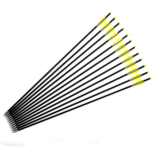 12pcs Fiber Glass Shaft Arrows 8mm Practice Archery Arrows with Points for Recurve Bow & Compound Bow