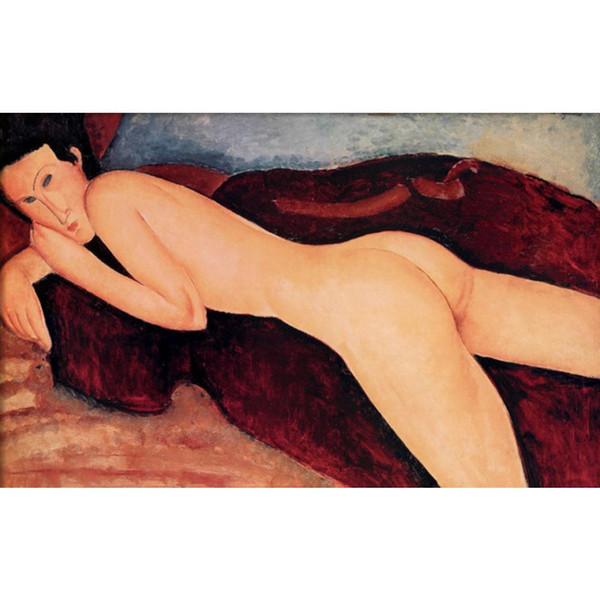 Moderne Frau Gemälde Liegender Akt von der Rückseite Amedeo Modigliani Reproduktion Leinwand Kunst handbemalte Wohnkultur