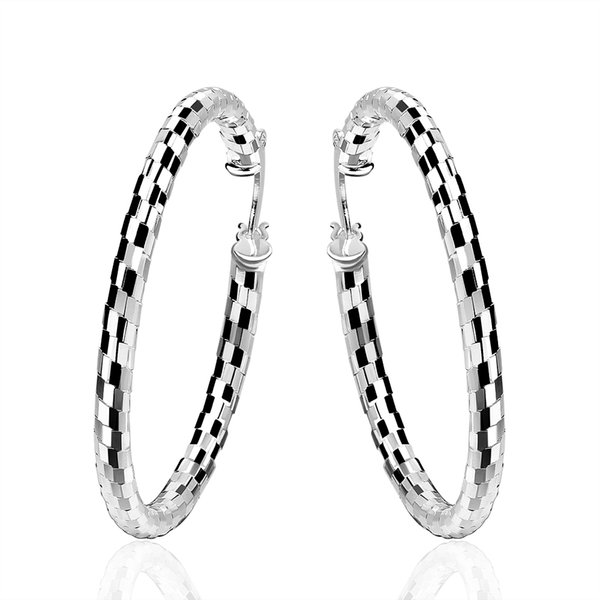 top popular Hot Sale 925 Sterling Silver Plated Earrings Big Circle Hoop Fashion Earring For Women Lady Party Earring 2019