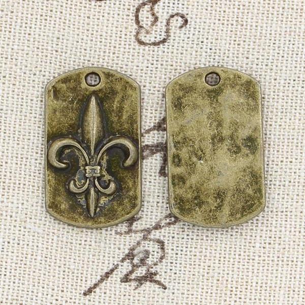 Al por mayor-99Cents 4pcs encantos FLEUR DE LIS 28 * 17 mm Antique Making colgante en forma, Vintage bronce tibetano, collar pulsera DIY