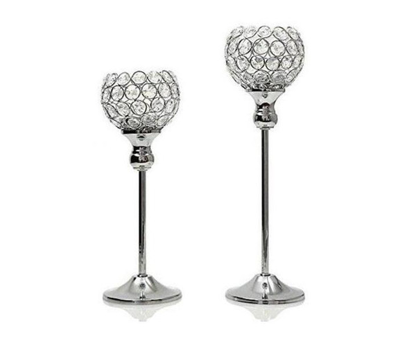 High quality glass Crystal Candle Holders 12*30cm Tall Wedding Centerpiece Metal Silver Gold Candlestick Candle Stand free shipping