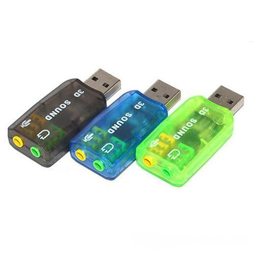 3.5mm Mic Speaker USB 3D Sound Card Audio Adapter Virtual 5.1 Channel for PC or Laptop