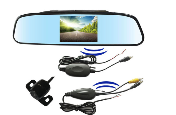 2.4G Wireless Car Rearview PZ603W 4.3 Inch Display TFT LCD Screen Camera Monitor 2 Way Video In