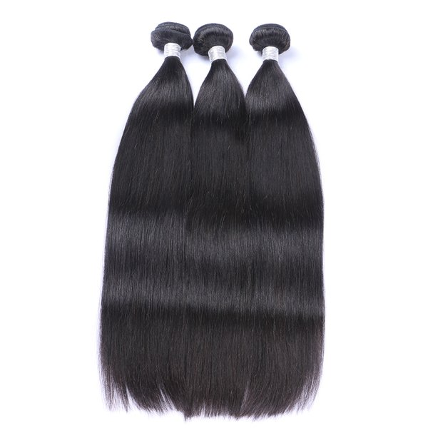 Factory Wholesale Brazilian body wave Remy Hair 2 pcs /lot Silky Straight Indian Hair Bundles Malaysian Peruvian Virgin Hair Natural color