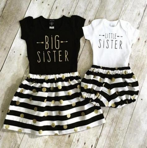 "top popular ins summer baby girls ""big sister"" ""little sister"" letter print top with matching gold polka dot stripe tutu dress fake 2pc outfits 2020"