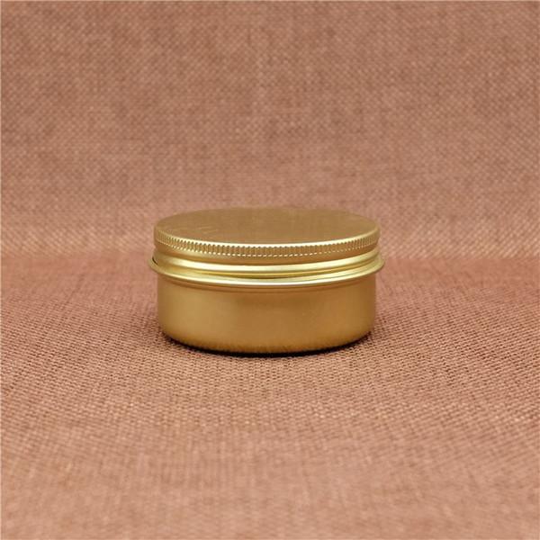 Gold 50g Cosmetic Aluminum Jar Refillable Empty Lip Oil Batom Eye Cream Wax Small Bottle Screw Cap Containers