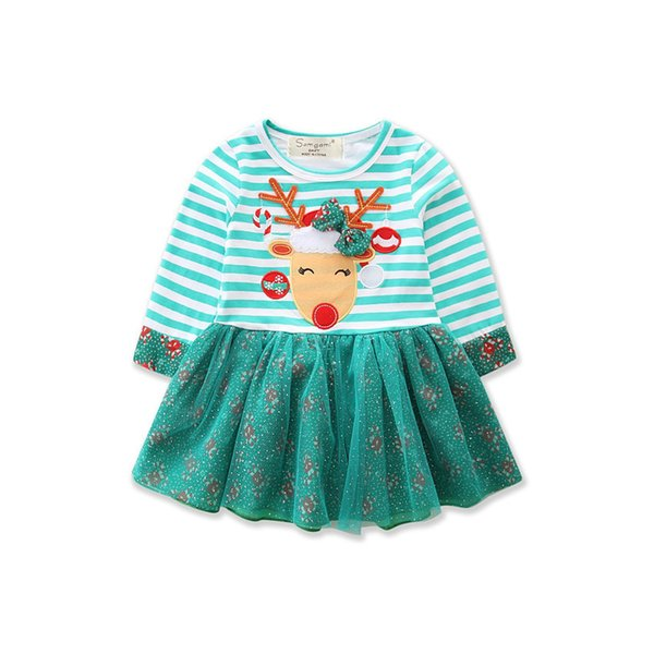 Cute Christmas dresses for girl Xmas Fawn Green Striped Dress Long sleeve 2017 New arrival princess dresses