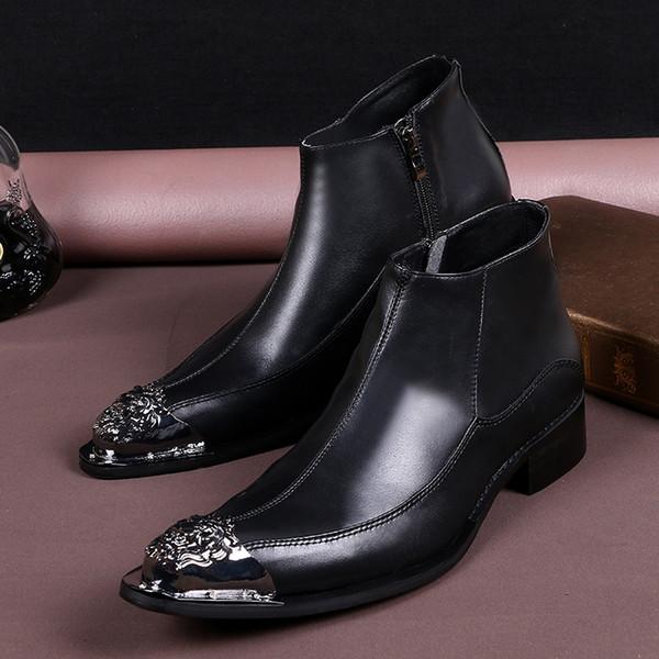Reißverschluss Großhandel Schwarz Westlichen Männer Herren Seitlichem Spitzschuh Echtes Stiefel Nieten Metall Leder Schuhe Stil Business Hochzeit hQxrdtCs