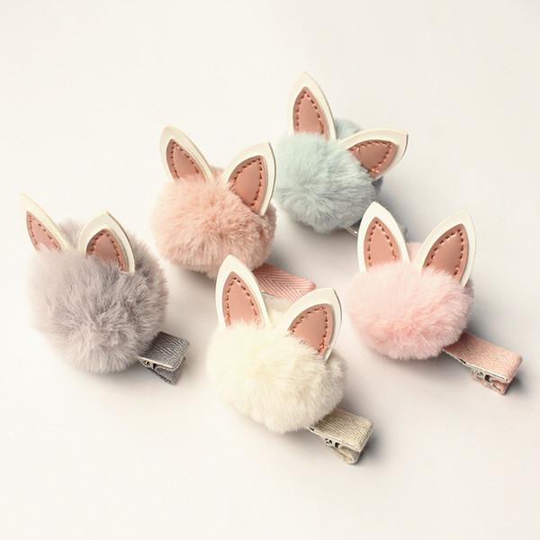 15pcs/lot 2017 Autumn Winter Wool Soft Roll PU Leather Rabbit Ear Kids Hair Barrettes Lovely Pink Girl Hair Clips Cartoon Design