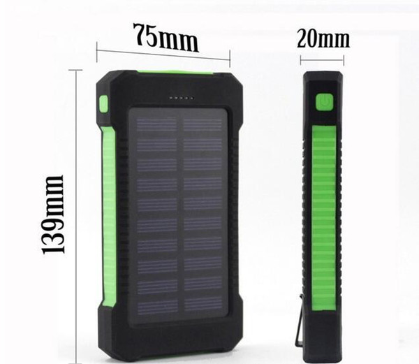 20000 mah Solar Charger and Battery 30000mAh Solar Panel Dual Charging Ports portable power bank for All Cell Phone table PC MP3 10pcs