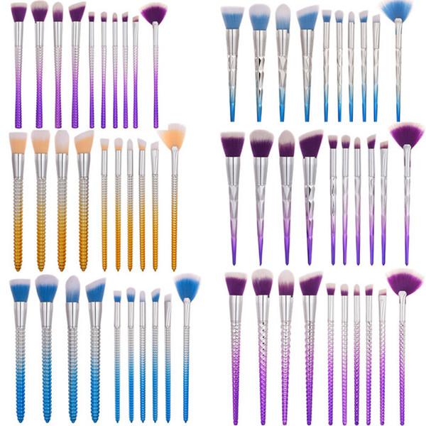 Mermaid Makeup Brushes Set 10pcs Professional Diamond Shape Brushes Eye Shadow Blusher Powder Thread Blending Cosmetic Corn Shape Brush Kit