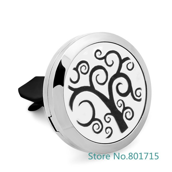 Family Tree Essential Oil Car Diffuser Locket Vent Clip 316 L Stainless Steel Pendant Perfume locket Magnetic Randomly 5pc Oil Pads as Gift