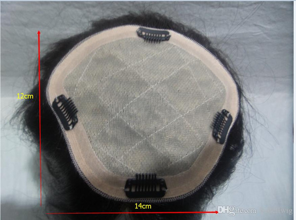 14 cm * 12 cm Cheia Do Laço Perucas de Cabelo Humano Parte Do Cabelo Perucas de Cabelo Virgem Brasileiro 100% Simulação Do Couro Cabeludo De Seda De Alta Moda peruca Kabell PERUCAS