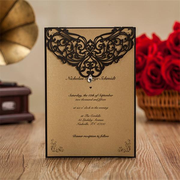 All'ingrosso-12pcs / lot di lusso strass gemma floreale inviti di nozze floreali nero taglio laser decorazioni del partito convites de casamento JJ652