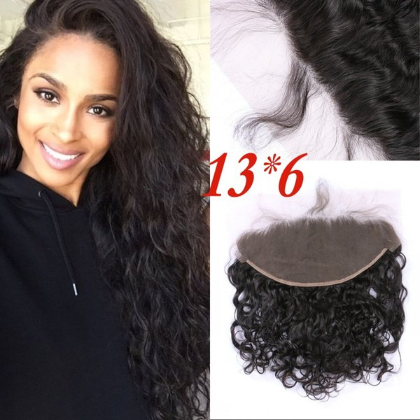 13x6 Lace Frontal Closure Mongolian Human Hair Water Wave Full Lace Frontal With Baby Hair From Ear to Ear FDSHINE