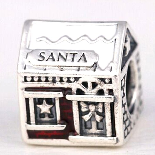 2016 Winter Bead 925 Sterling Silver Santas Home Charm Fits European Pandora Jewelry Bracelet Necklace & Pendant Christmas Gifts