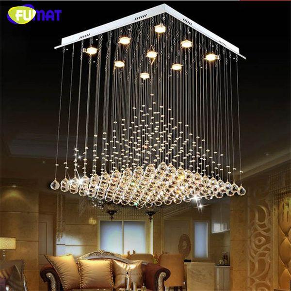 FUMAT K9 Crystal Chandelier Modern Lustre Hotel LED Crystal Light Fixtures Living Room Lobby Rain Drop Crystal Chandeliers