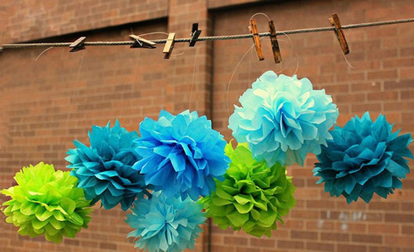 "Wholesale-Hot selling 12""(30 cm) Wedding Decorative Props Tissue Paper Pompoms Pom Poms Balls Wedding Party Home Decor"