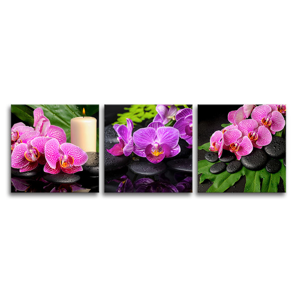 Orchid Flower Art Photo Giclee Prints Modern Home Wall Decor Pink Flower on Canvas Living Room Decoration Unframed(40x40cmx3pcs)