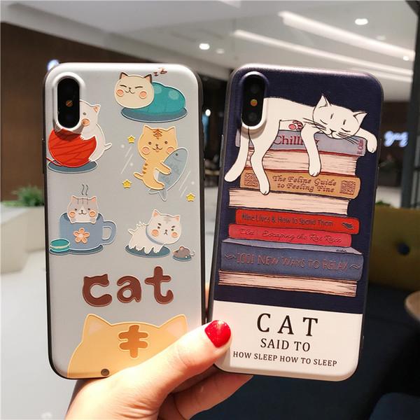 Cas 3D drôle de Bande Dessinée Kitty Cat Silicone Squeeze Stress Soulager Berceau Soft Couverture TPU Pour iPhone X 8 7 plus 6 6s SE 5S 5