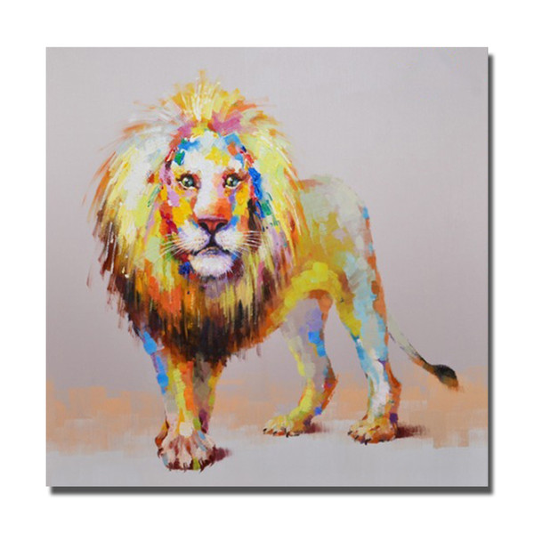 Free shipping top quality hand painted cartoon wild animal lion oil painting mass production canvas art
