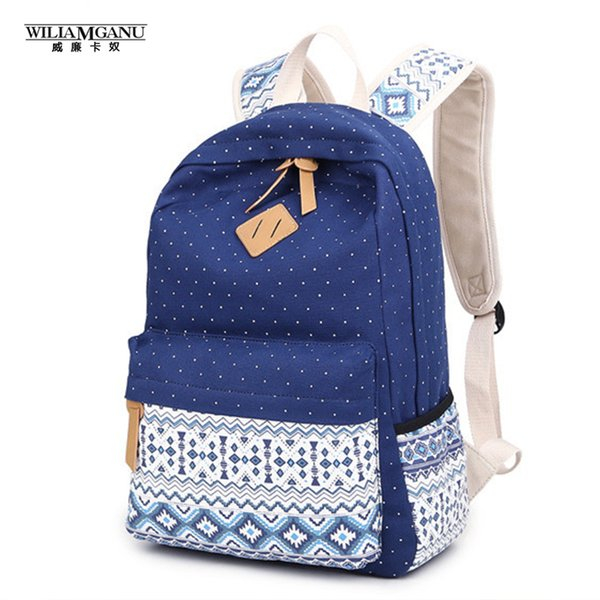Wholesale- WILIAMGANU Women Backpack for School Teenagers Girls Vintage Stylish Ladies Bag Backpack Women Dotted Printing High Quality