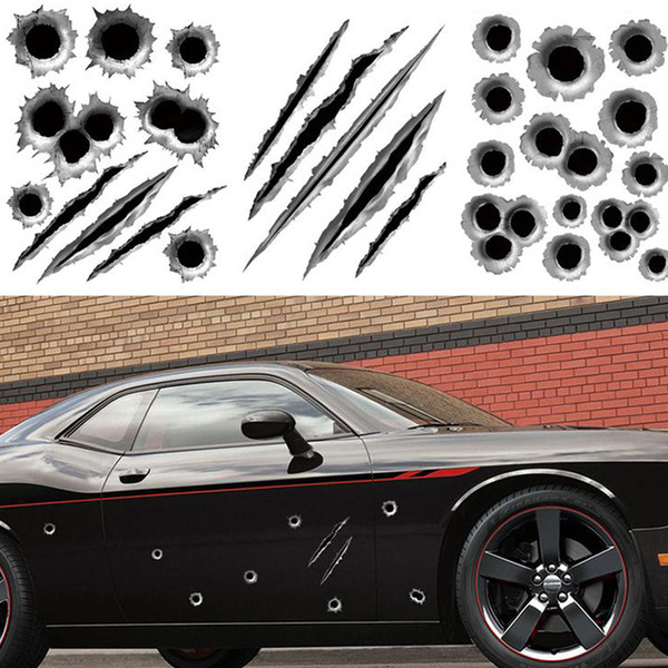 best selling 1Pcs 23 x 29cm Funny 3D Bullet Hole Car Styling Accessories Motorcycle Scratch Car Stickers And Decals CDE_00J