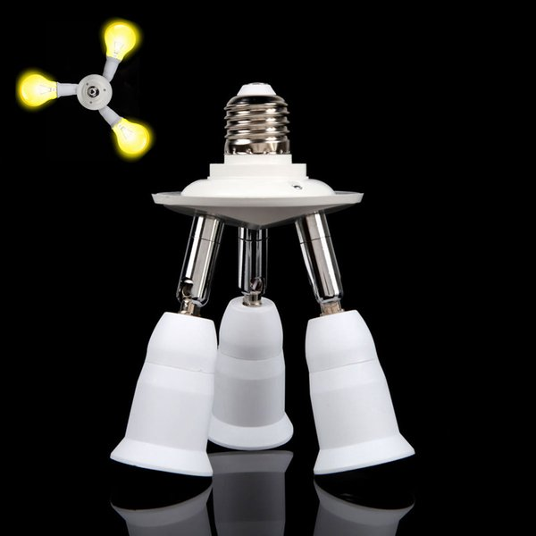 3 in 1 Adjustable E27 Base Light Lamp Bulb Adapter Holder Socket Splitter 250W Each Socket LED_80R