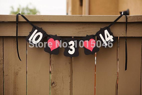 Оптово Бесплатная доставка 1 X Черный Новый Handmade на заказ Сохранение даты Дата свадьбы Баннер для свадьбы и сессии Engagement