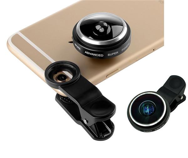 Супер 235° Клип На Рыбий Глаз Камеры Широкоугольный Объектив Комплекты Высокое Качество Универсальный Selfie Объектив Для Samsung Iphone