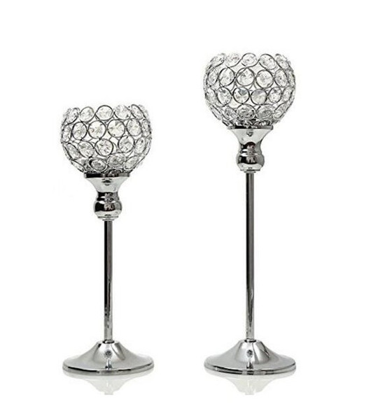 elegant Gold Crystal candle holders Set of 2 wedding centerpiece decoartion candlestick home decor fireplace candelabra and candle holder