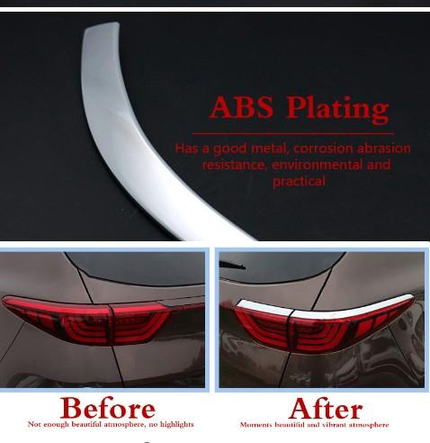 For KIA Sportage QL 4 2016 2017 ABS Chrome Car Rear Tail Lights Cover Eyebrow Decoration Sticker Trim Auto Accessories Styling