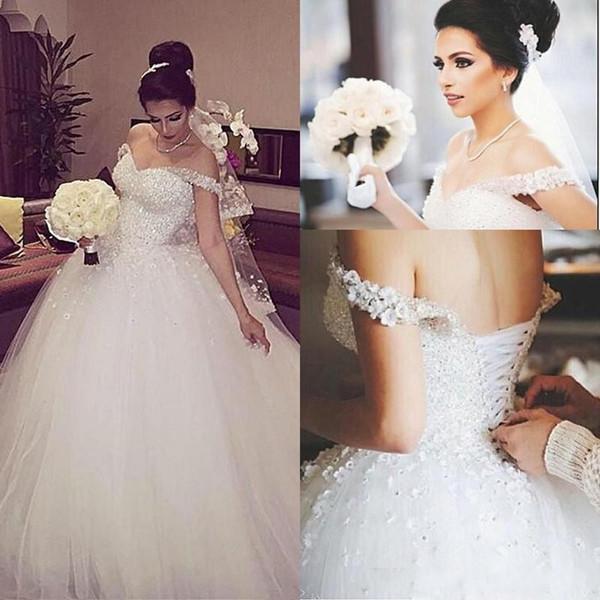 Gorgeous Crystals Sparkly White Ball vestido de novia vestidos formales fuera del hombro lentejuelas rebordear con cordones Volver Iglesia Vestidos de novia Puffy