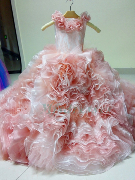2017 New Organza Blush Pink Ball Gown Girls Pageant Dresses Communion Dresses For Girls Ruffles Flower Girl Dress Kids Prom Evening Gowns