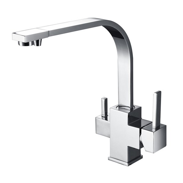 Wholesale- New Wholesale Factory Direct Price 360 Degree Swivel Square Style Tri Flow Sink Faucet Ro Water Filtered 3 Way Kitchen Tap