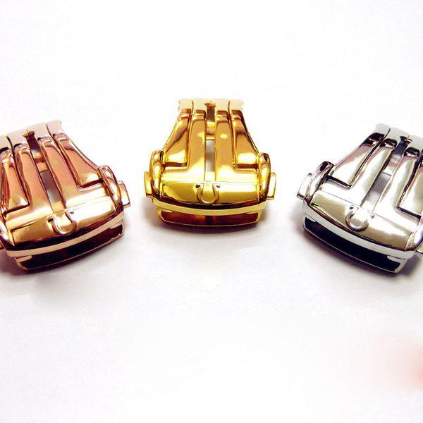Vendita calda Chiusure in acciaio inossidabile per cinturino cinturino in pelle Fibbia a farfalla Chiusura pieghevole in acciaio 16MM 18MM color argento per cinturini Omega