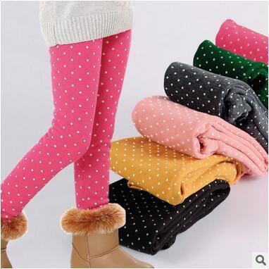 Children's Clothes Girls Legging Winter Keep Warm Fleece Thick Dot Leggings Sweet All Match Long Pants Tights Classical Design
