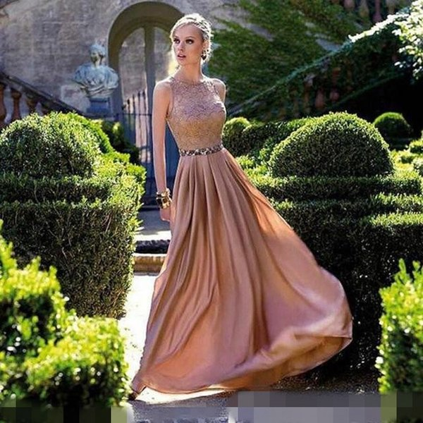 1027 Lace Top Prom Dresses With Beaded Belts Long Formal Evening ...