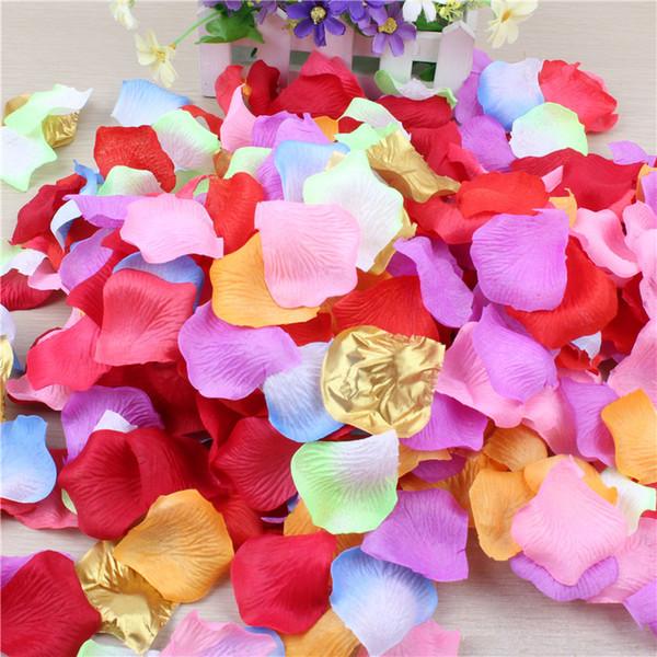 5 * 5 CM Artificial 100 pçs / lote Silk Rose Pétalas de Casamento Decorações Do Corredor Corredores Do Corredor Da Menina de Flor Jogando Mesa 40 Cores pétala do casamento