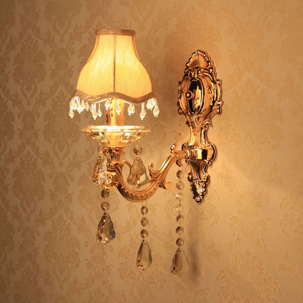 European Gold Carved Alloy Fabric Crystal Corridor Wall Lights Bedroom Bedsides Wall Sconces Candle Style Living Room Wall Lighting Fixtures