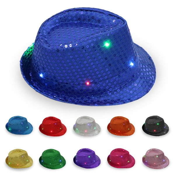 LED Jazz Chapéus Piscando Luz Up Levou Fedora Trilby Lantejoulas Tampas Fancy Dress Dance Party Chapéus Hip Hop Lâmpada Luminosa Chapéu IC822