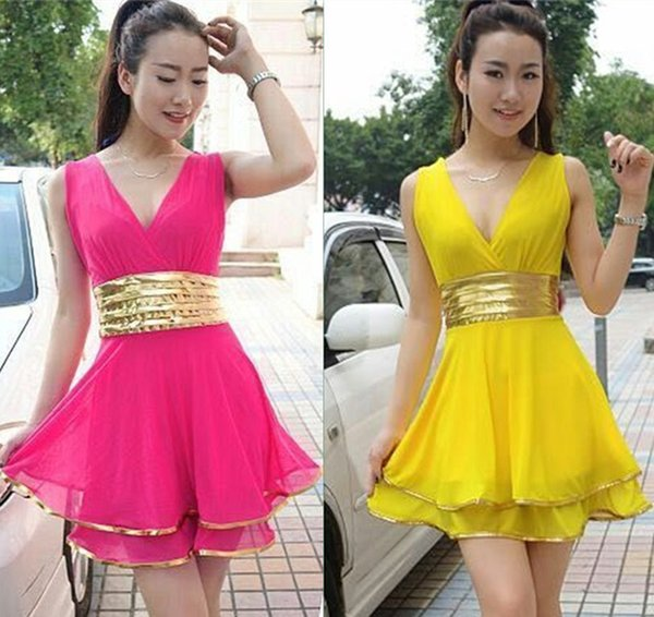 Cheap sexy Dixiong V collar vest waist umbrella swing dress LYQ271