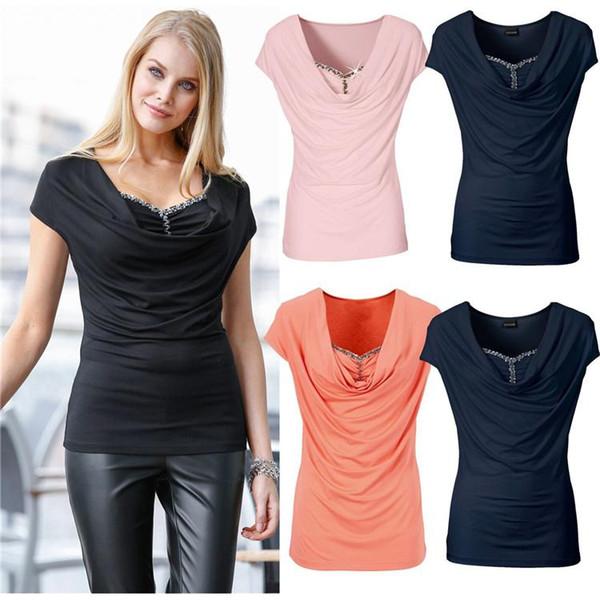 Splicing Sexy Bead Top Short Sleeve Pile Collar Women T Shirt Silk Black Pink White Blue Red Slim Fold Plus Size Blusas Shirt QQSS9948