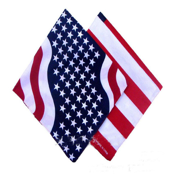 best selling 55*55cm Cotton Bandanas USA United States American Flag US Bandana Head Wrap Scarf Neck Warmer Print Scarf 2 Styles