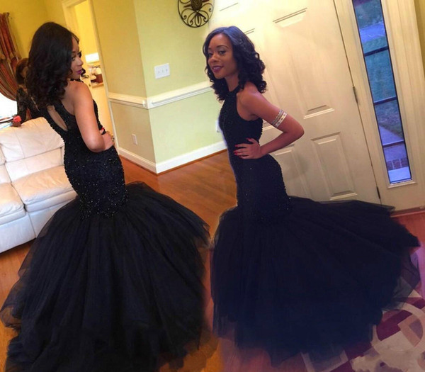 Elegant Black Mermaid Prom Dress Open Back Beaded Formal Evening Gowns African Black Girl Dresses Long Fishtail Train Formal Party Gowns